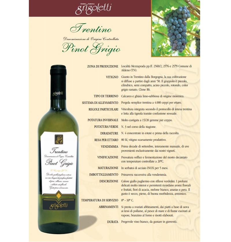 Fiori Gialli Vino.Pinot Grigio Trentino Doc Bertazzo Food